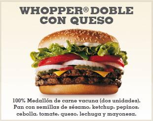 El Whopper doble puede contener muchísimas calorías ¡Aléjate de él!