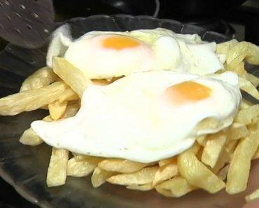 ¿Cuántas calorías tiene dos huevos fritos con patatas fritas?